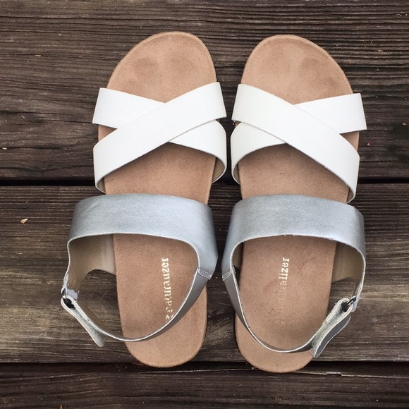 NEW Silver Leather Comfy Sandals